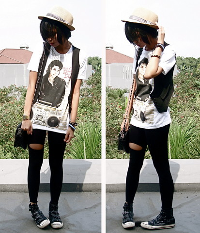 Adelle Veronica - Hat, Black Vest, Mj Shirt, Black Bag, Black Sneakers - Remembering Michael Jackson