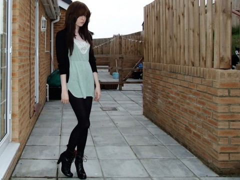 Rebekah D - H&M Dress/Top, Urban Outfitters Boots, My Cat, Hahaha - Stuck on repeat