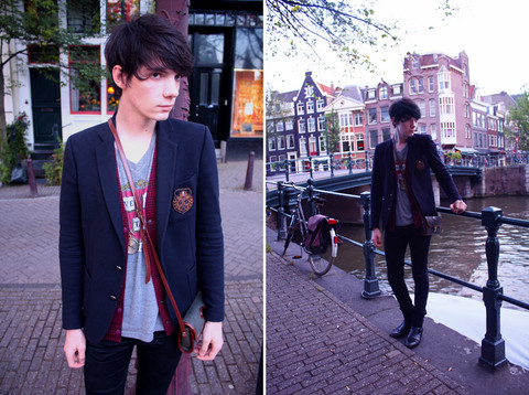 Romain Le Cam - The Kooples Blue Blaser, April 77 Black Slimfit Jean, Heyrault Black Leather Boots, Vintage (Found In Paris) Red Jacket, Zipper Harvard T Shirt (Veritas), Thrifted In Stockholm (Sofo) Green And Brown Vintage Bag - Amsterdam : Pretend it Never Happened