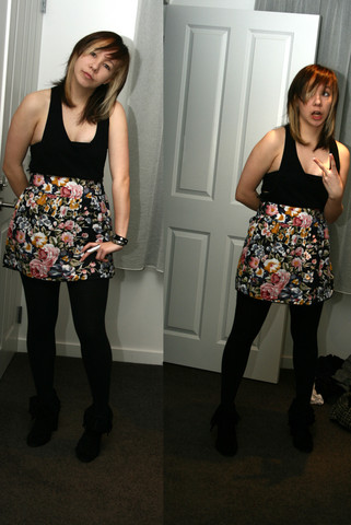 Alise G - Topshop Black Tank, Wish Floral Skirt, Zara Suede Tassel Boots, Silver Surfers Ring, Diva Cuff - The only thing floral I've worn and it's not even mine.