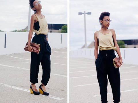 Crystal Wood - Goodwill Black Silk Pants, H&M Black Tube Top, Dsw Shoes Black & Gold Wedges, Gold Sparkly T Shirt (Modified), Forever 21 Brown Clutch - Declaration of Dub