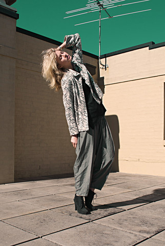 Zanita Who - Kmart Shirt, Vintage Jacket, Sportsgirl Harem Pants, Nine West Booties - Spinach Sky