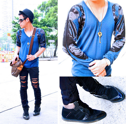 Dennis Robles - Unbranded Key Necklace, Chanel Black Shades, Human Black Tattered Jeans Diy, Swear London Black Hightop Oxfords, Louis Vuitton Sac Bosphore Mm, Desigual Blue Pullovers With Print On Sleeve - Somewhere in kowloon i couldn't locate
