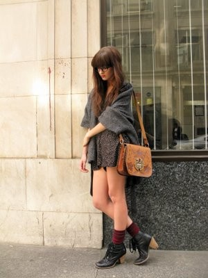 Natasha Mann - Brighton Vintage Bag, Topshop Biker Boots, Polka Dot Playsuit, Cat Eye Glasses, Knitwear - Soho geek