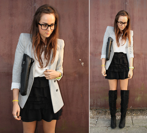 Andy T. - Inwear Knee High Boots, H&M Skirt, Diesel Bag, Zara Blazer - KNEE HIGH
