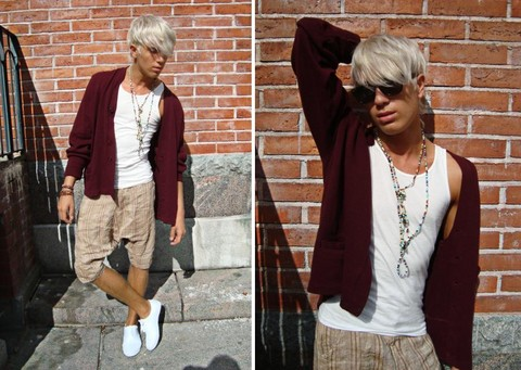 Ragnar Orav - Ray Ban Sunglasses, H&M Necklace, Cheap Monday Tanktop, Second Hand Cardigan, H&M Short Harem Pants, Urban Outfitters Shoes - Blah blah blah love my cardigan