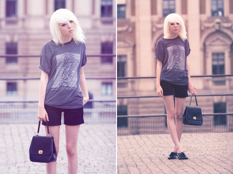 Shelley Mulshine - My Dad Gave It To Me Vintage Joy Division Tee, Gift Black Shorts, På Pricken RöD Vintage Purse, Second Hand Black Shoes - Atmosphere
