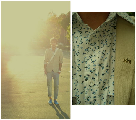 Oleg P. - Vintage Pin, Old Navy Shirt With Blue Flowers, Vintage Linen Blazer, Bershka Jeans, H&M Neon Blue Shoes - You never want to feel so sad and lost again