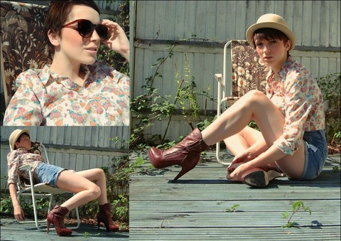 Kerry Lockwood - H&M Glasses, Vintage Miss Selfridge Cream Bowler, Topshop Floral Boyfit Blouse, Ancient! High Waisted Denim Shorts, Heaven. Trusty Ankle Boots - Lazing on a Sunny Afternoon...