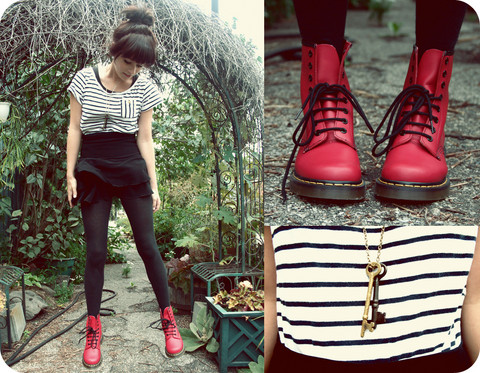 Rachel-Marie Iwanyszyn - Dr. Martens Doc, H&M Striped Tee, Thrifted Skirt, Uo Black Cable Tights, Keys, Http://Www.Jaglever.Com - Our secret.