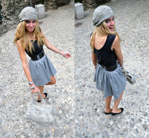 Chiara Ferragni - H&M Hat,, H&M Grey Skirt,, Old Black Top, Balenciaga Partime Grey, Black Flats By Lolita - Why is everyone so serious?