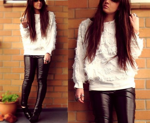 Tamara Cordon - Vintage Shaggy Ripped Fringe Shirt, Ebay Leather Skinnies, Zu Platform Ankle Boots - Hang you from the heavens