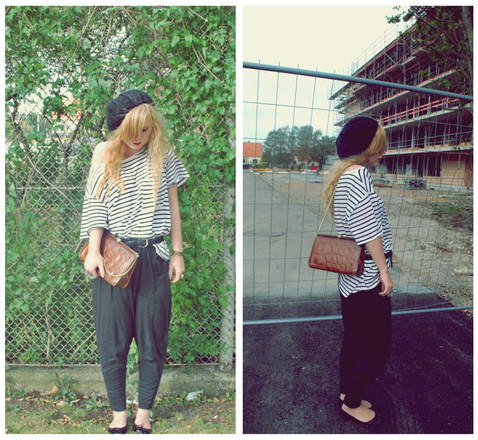 Agnes Almquist - Vintage Clutch, Weekday Striped Tee, Hare Harems - Construction couture