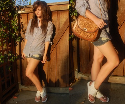 Anda Brea - All Star Button Up Top, Jean Shorts, White Sandals, Brown Leather Purse - Simplicity