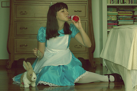 Little Cristi - Handmade Alice In Wonderland Dress, Urban Outfitters Watch Necklace, Moschino Black Shoes - Drink me