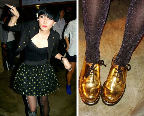 LINDA HAO LIYUAN - Lhly By Linda Gold Dotted Tutu, H&M 3/4 Sleeve Military Jacket, Chanel Classic Ear Studs, Dr. Martens Gold Dr, Lhly Shimmery Stockings - Do you like them all shimmer and gold?