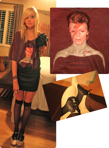 Ashley Hildre - Chaser Aladdan Sane Crop Top, Leather Skirt, American Apparel Sheer Knee Socks, Lace Ups - Bowie
