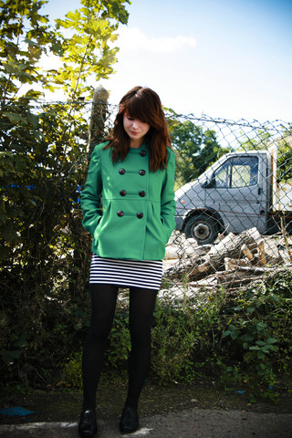 Amelia Sinnott - Topshop Emerald Green Jacket, Topshop Black And White Stripey Tunic, Topshop Black Brogues - Hey remember that time when I would only read Shakespeare