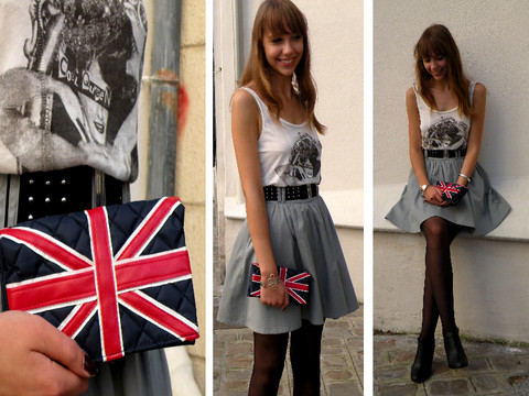 Ines Raskolnikov - Stradivarius Cool Queen T Shirt, H&M Grey Skirt, New Look Union Jack Clutch Bag, Vintage Black Boots - God save the queen