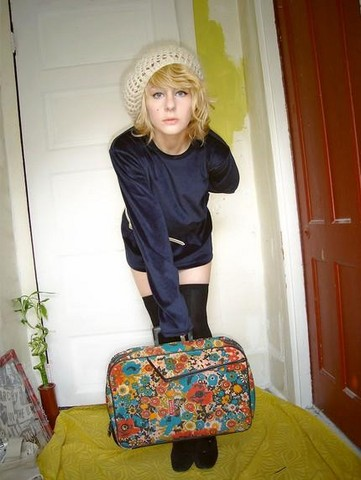 Lauran Cameron - Versace Vintage Velvet Dress, Thrift Store Vintage Floral Suitcase, Over The Knee Socks, Vintage White Leather Belt, American Eagle Knit Beret - I'm leavin' on a jet plane...