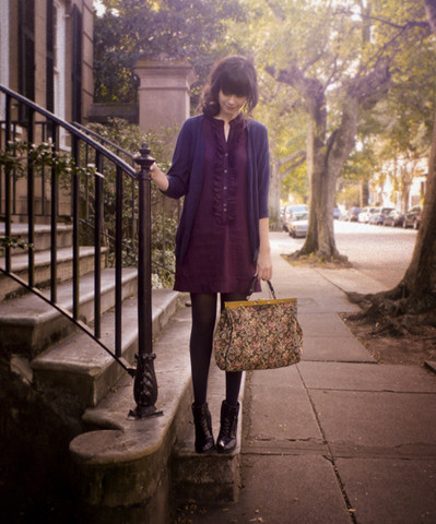 Rhiannon Leifheit - H&M Cardigan, Vintage Tapestry Bag, Seychelles Boots, Quiksilver Dress - Near The Battery in Charleston . . .