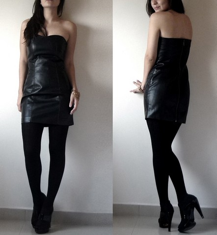Ninjaintherun Kalahari - Heart Shaped Leather Tube Dress, Black Tights, Black Heels - Libra time.