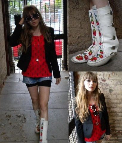 Ashley Bowman - Vintage Cube Necklace, Vintage Handmade Moccasin Boots, Dolce & Gabbana Sunglasses, Express Broad Shoulder Blazer, Vintage Red Polyester Blouse, Self Destroyed Denim Shorts, Self Made Shorts Tights - She's so Sick, She's so Obscene.