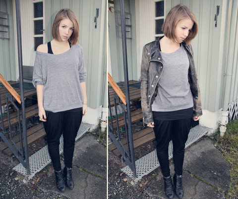 H E - American Apparel Top, Cubus Harem Trousers, Zara Leather Jacket, Dinsko Boots - A change