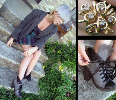 Ava B - Vintage Gold Ring, Topshop Lace Up Boots, My Mom's Grey Blazer, Forever 21 Gold & Pearl Earring, Nordstrom Plaid Dress - Steady hands, easy friends