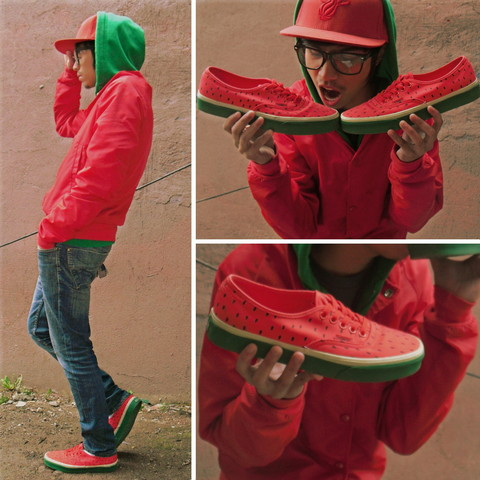 "Denny Balmaceda - Vans Watermelon, American Apparel Red Nylon Taffeta Jacket, Forever 21 Green Zip Up - "" Mouth Watering """