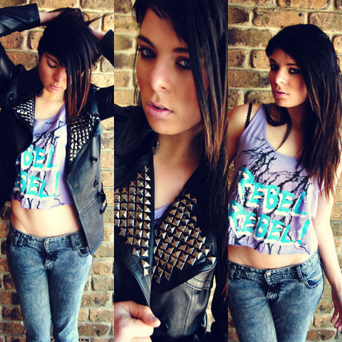 Stella Knigge - Supre Top, Lee Jeans, Live Leather Jacket With Diy Studs - Rebel rebel