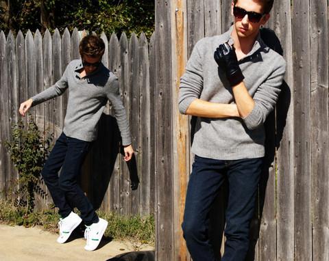 Skinny Jeans, Shawl Neck Sweater, Urban