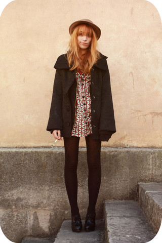 Typhaine - Double One Coat, H&M Shoes, Boyfriend's One Hat, Vintage Dress - Little T.