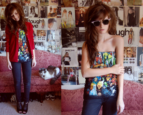 Anda Brea - Custommade Marvel Tube Top, Yard Sale 70's Sunnies - If i were a super hero, i'd be cat woman
