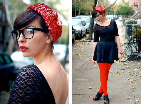 Keiko Lynn - Lace Dress With Bloomers, Hourglass Consignment Sequin Beret, Modcloth Peeptoes, Love Red Tights - How can they see with sequins in their eyes?