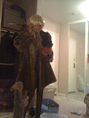 Valerie Renée - Buffalo Exchange Leopard Faux Fur Coat, American Apparel Spiral Tights - My first excuse to wear this coat..