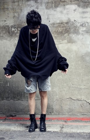Curtis Yu - Remake Oversize Black Top, Dress Code Ripped Jean Shorts, Dress Code Combat Boots - Upside down