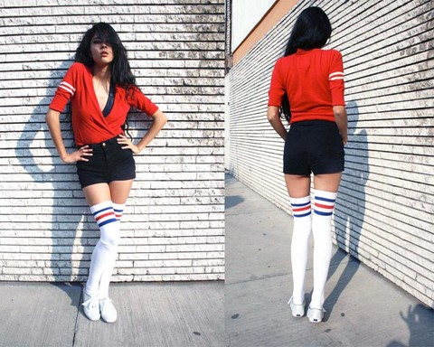Denni Elias - American Apparel Aa Shorts, Uo Sweater, American Apparel Aa Socks, American Apparel Aa Shiny Bodysuit - I`M PEPPER, YOU ARE PEPPER