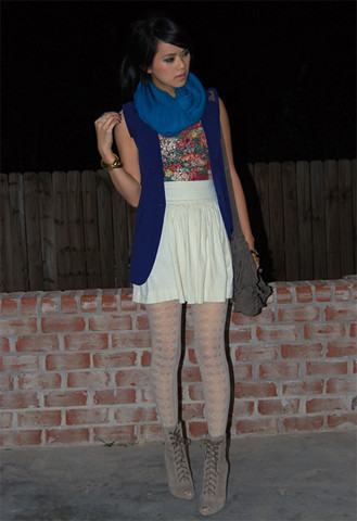 Trang Huyen - Poufy Skirt, Lace Tights, Guess? Guess Lace Up Boots, Wool Scarf, Navy Blue Boyfriend Vest, Vintage Lace Flower Top, Zara Fringe Bag, Cuffs - After dark.