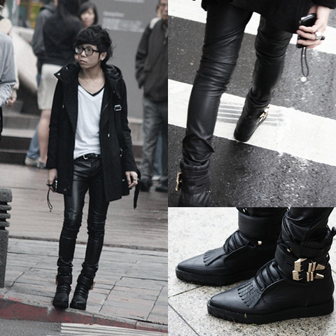 Curtis Yu - Alexander Wang Boots, Leather Pants, Dress Code Coat - It began to overcast