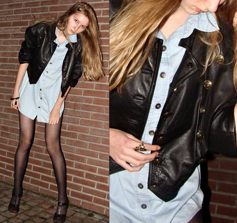 Iris M. - Vintage Jacket, H&M Shoes - Staying up late, a kiss on my cheek, hoping you'll stay as the others all leave
