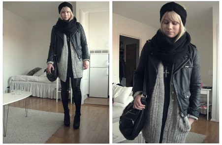 Sofie Ekstrom - Zara Leather Jacket, Zara Knitted Cardigan - Cosy