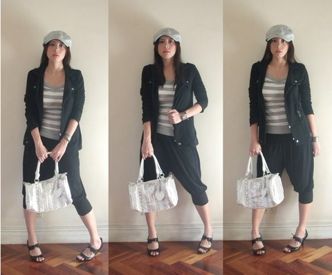 Noelle De Guzman - Vintage Silver Cuff, Bench Grey Cap, Tay Shuen Black Military Inspired Blazer, Vanessa's (Borrowed) Grey And White Stripe Tank, Fashion Fruit Black Cropped Harem Pants, Tomato White Bag With Silver Weave, Nine West Black Peep Toe Oxfords - Almost everything was an impulse buy