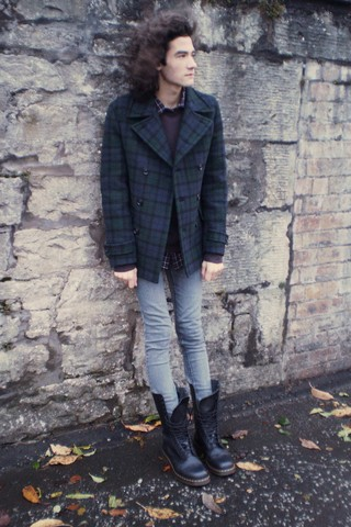 James Andrew Cunningham - Topman Brown Sweater, Uniqlo Checked Flannel Shirt, Uniqlo Tartan Peacoat, Topman Grey Spray On Skinny Jeans, Dr. Martens 1914 14 Eye Boot - YOU DON'T KNOW WHAT TO THINK