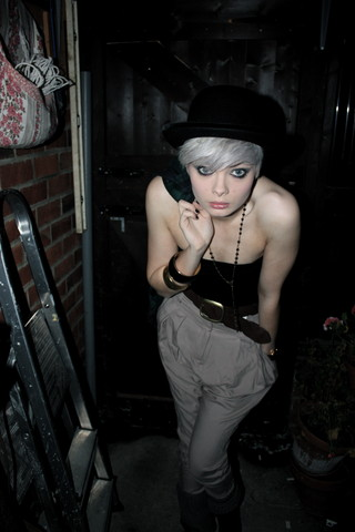 Kat At. - Bowler Hat, Opia Bangles, Topshop Beige Hareem Pants, Atmosphere Brown Woven Waist Belt - Every you, every me.