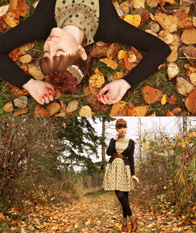 The Clothes Horse R - Vintage Polka Dot Dress, Vintage Feather Fascinator - Quintessentially Fall