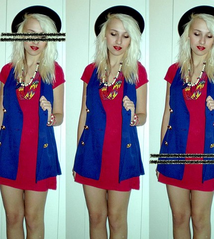 Jessi Towell - Thrift Oversized Vest, Thrift Wooden Necklaces, Thrift Felt Hat, Old Navy V Neck Dress - Dance All Nite 'Til She Break Her Neck, 'Yo!