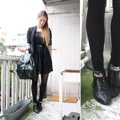 Renée Sturme - Zara Blazer, Vintage Backpack, Love Lace Dress, H&M Tights, Vintage Boots - Black
