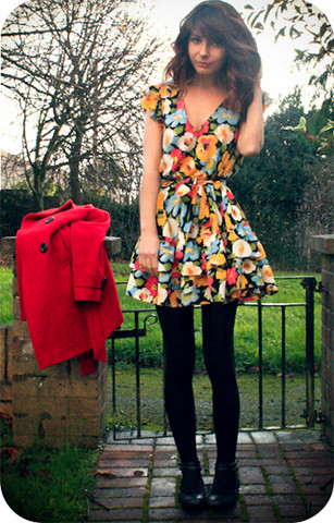 Amelia Sinnott - Asos Floral Dress, ?? Black Tights, Can't Remember Red Trench, ?? Pumps With Ankle Strap - 25 days