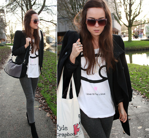 Andy T. - Wildfox Couture Cancer Tee, Zara Coat, Zipper Amsterdam Vintage Glasses - I LOVE TO FALL IN LOVE